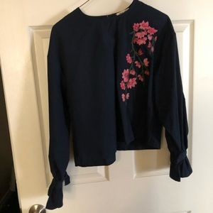 ••Bleuh Ciel Navy Blue Blouse with Floral design